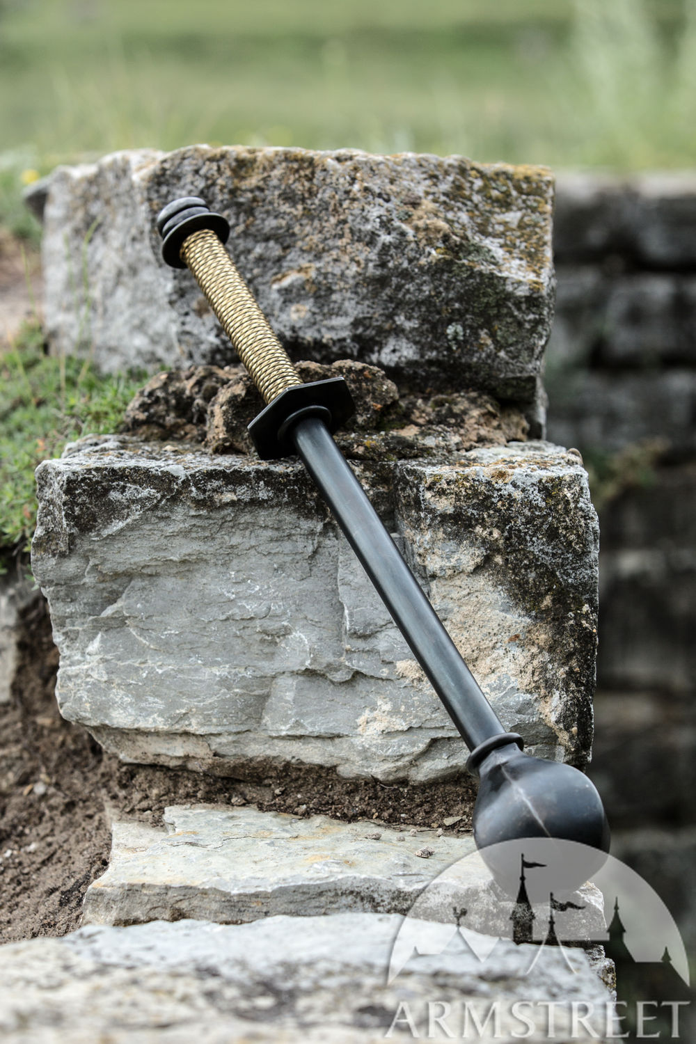 "Ornamental blackened mild steel mace ""Wayward Knight"""