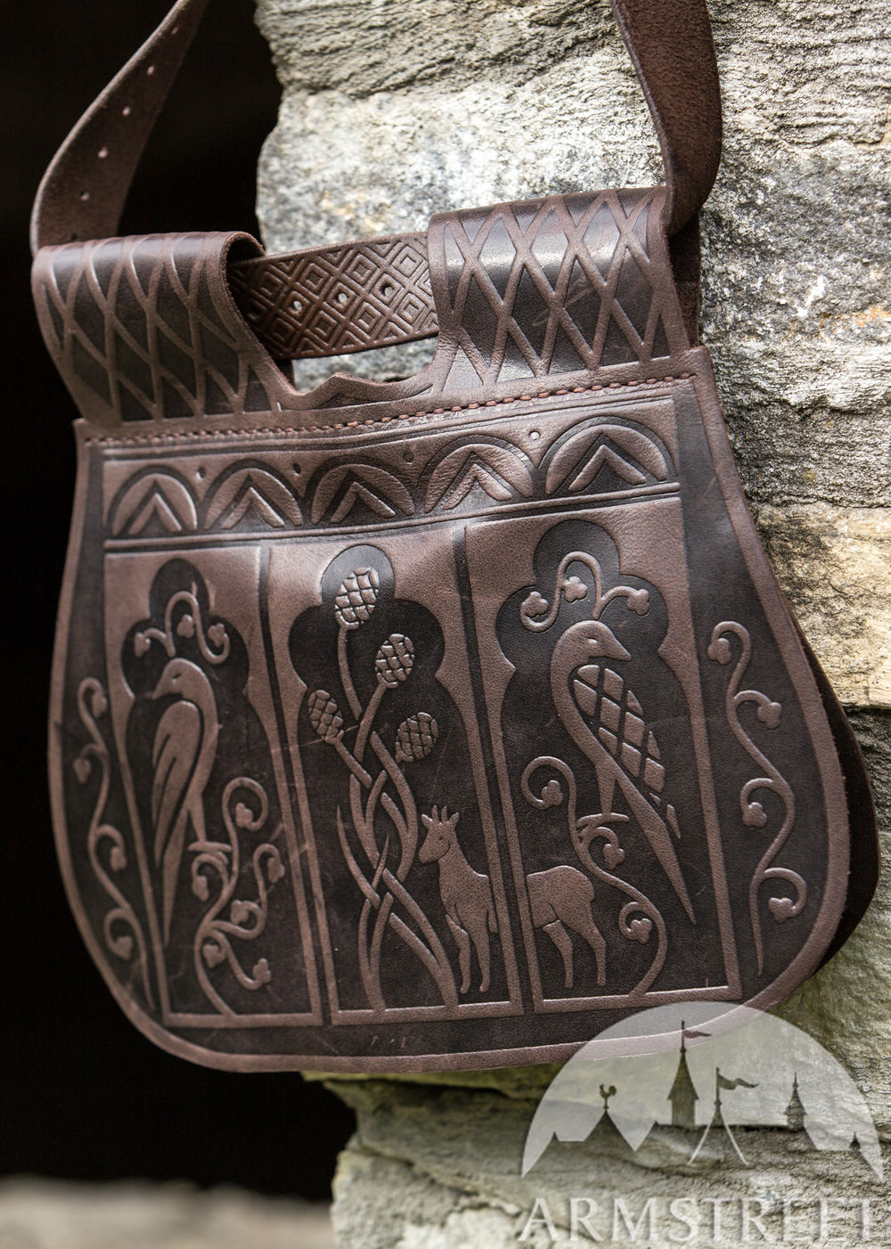 "Leather bag with pockets from ""Timeless Middle Ages"" collection"