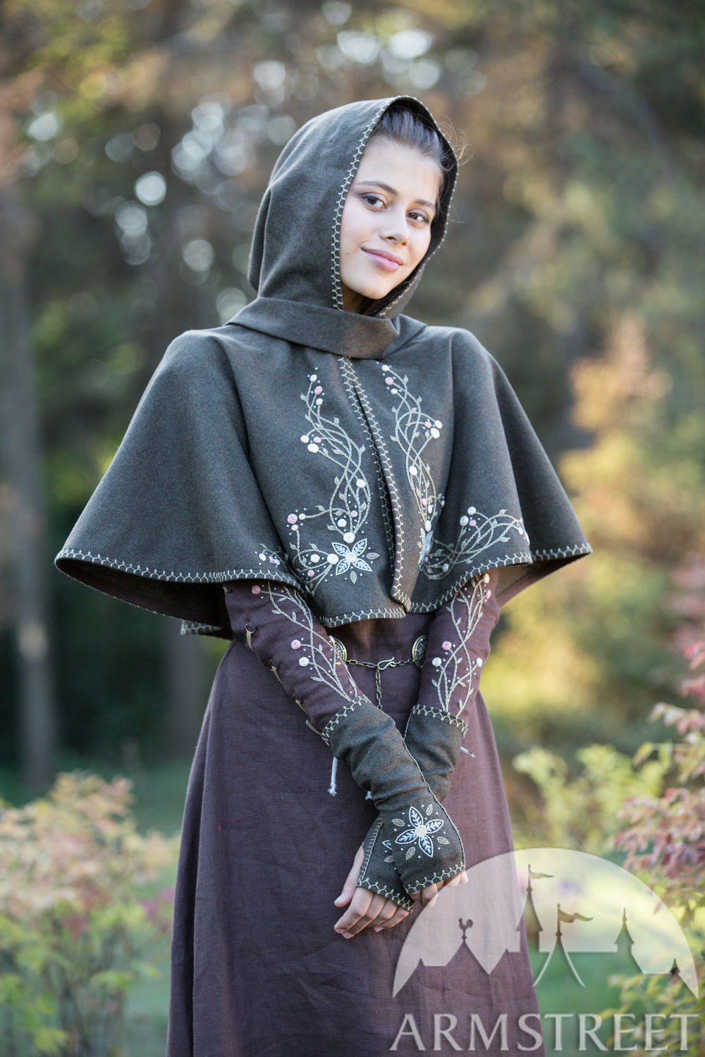 "Limited Edition ""Fairy Tale"" Brown Woolen Hood and Mittens"
