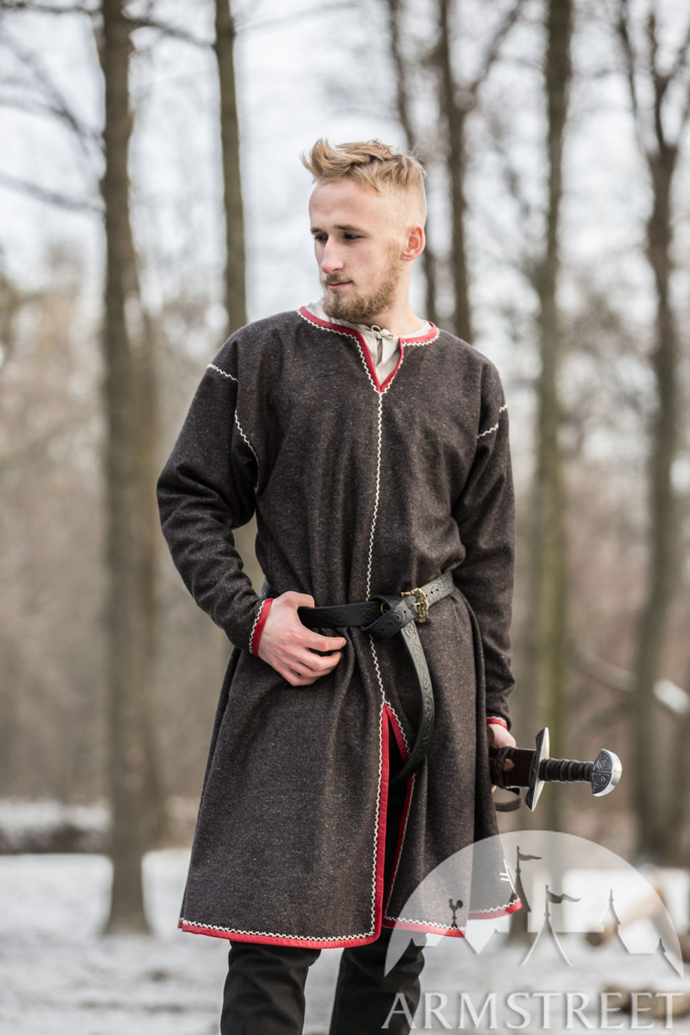 "Limited Graphite Wool Viking Tunic ""Ragnvaldur the Traveller"""