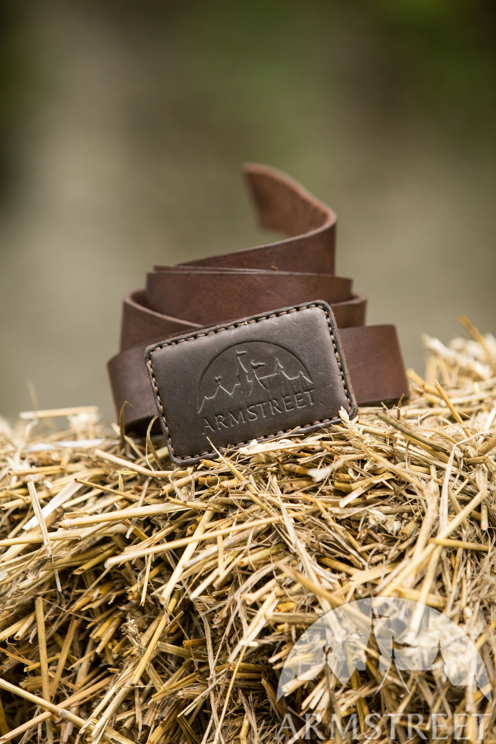 Branded products with logo: leather belt with embossing