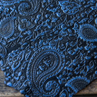 Blue on Black embossed leather