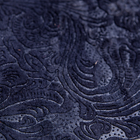 Dark blue embossed leather
